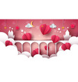 fantasy cartoon landscape castle heart love vector image