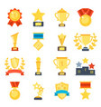 flat pictures set of different trophy vector image vector image