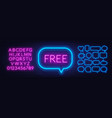 free neon sign on a dark background vector image vector image