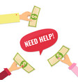 giving help donating money vector image
