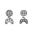 global game line and glyph icon play and world vector image vector image