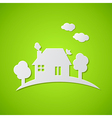 Green background with white paper house vector image vector image