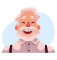 Grey haired old man face laughing facial vector image vector image
