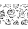 hand drawn graphic black and white cupcakes vector image vector image