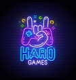 hard games neon sign game logo vector image vector image