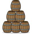 heap of barrels cartoon vector image vector image