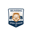 hunting season badge of lion head with target vector image vector image