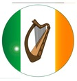 Irish Flag With Harp Button vector image vector image