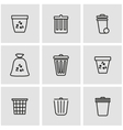 line trash can icon set vector image vector image