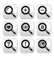 Magnyfying glass web search buttons set vector image vector image