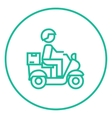 Man carrying goods on bike line icon vector image vector image