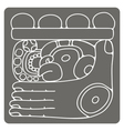 monochrome icon with glyphs of the Maya Night Lord vector image vector image