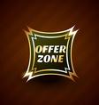 offer zone premium golden label design vector image