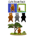 pack cute bear vector image vector image