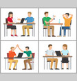 people sitting by table poster vector image vector image
