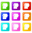 roll of toilet paper on holder icons 9 set vector image vector image