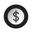 round black white icon - dollar currency symbol vector image
