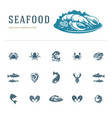 seafood icons and silhouettes isolated on white vector image