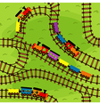 seamless pattern railway with trains vector image
