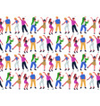 seamless pattern with group of young dancing vector image