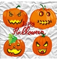 Set of spooky halloween jack o lanterns vector image vector image