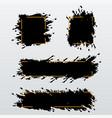 set of trendy bannersheaders of ink brush strokes vector image vector image