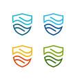 shield water flow logo template vector image vector image