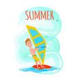 summer poster windsurfing summer sport activity vector image vector image