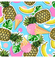 summer seamless bright pattern with pineapple vector image vector image
