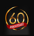 template gold logo 60 years anniversary with red vector image vector image