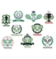 Tennis sports emblems and icons vector image vector image