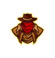 texas cowboy with hat mascot logo 2 vector image vector image