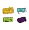 ticket icon set color outline style vector image