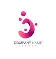 water letter j logo design vector image vector image