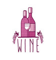wine bottles with grapes vector image vector image
