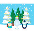 winter character in forest snowman and penguin vector image vector image