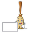 with board broom character cartoon style vector image vector image