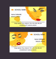 woman face set of business card vector image vector image