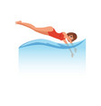 woman in red swimsuit jumping diving into the vector image
