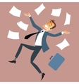 Businessman throws paper vector image