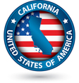 California state blue label with state map vector image