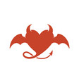 devil heart logo with wings and horns vector image