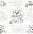 seamless pattern with cute hand drawn teddy bear vector image