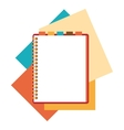 Flat design notepad with paper sheets vector image