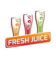 three glasses with different juice red orange vector image