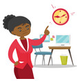 angry african employer pointing to time on clock vector image vector image