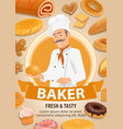 baker bread and cakes cartoon vector image vector image