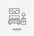 bedroom flat line icon apartment furniture sign vector image