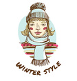 Blonde woman wearing striped sweater scarf and cap vector image vector image