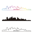 Brooklyn skyline linear style with rainbow vector image